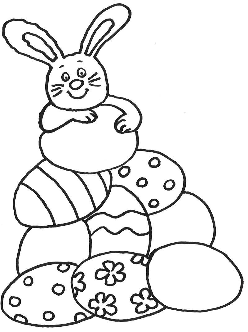 Kostenlose Malvorlage Ostern Osterhase mit vielen
