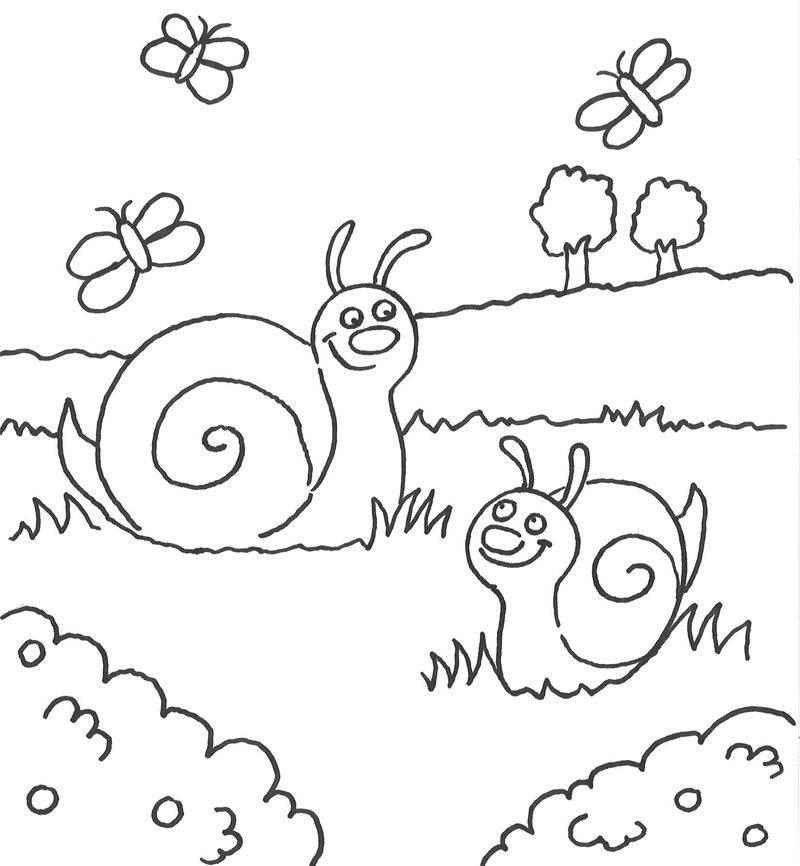 Ausmalbild Tiere Schnecken auf der Wiese kostenlos ausdrucken
