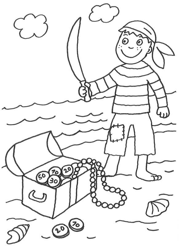 Kostenlose Malvorlage Piraten Pirat mit Schatz zum Ausmalen