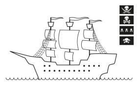 Ausmalbild Piraten Piratenschiff zum Ausmalen kostenlos ...