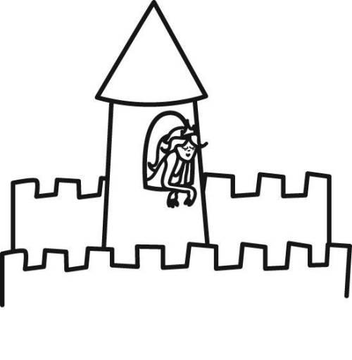 Kostenlose Malvorlage Prinzessin Prinzessin im Turm zum Ausmalen