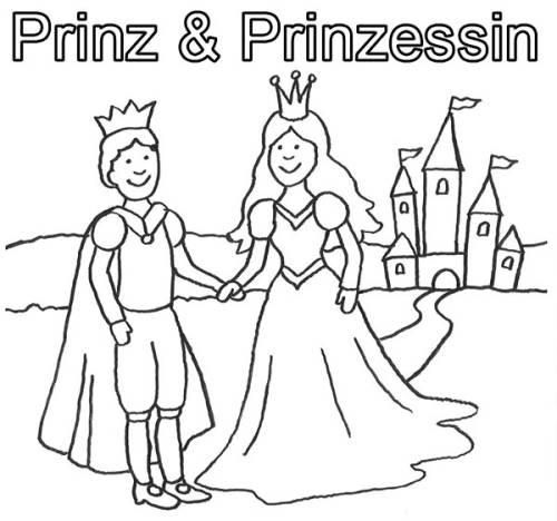 Kostenlose Malvorlage Prinzessin Prinz und Prinzessin mit