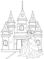 Ausmalbild Prinzessin Prinzessin vor ihrem Schloss zum ...