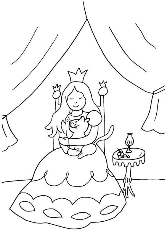 Kostenlose Malvorlage Prinzessin Prinzessin und Katze zum
