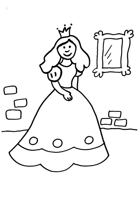Kostenlose Malvorlage Prinzessin Prinzessin Vor Dem