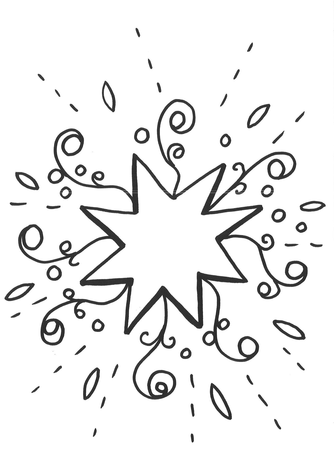 Ausmalbild Schneeflocken und Sterne Malvorlage Stern 1