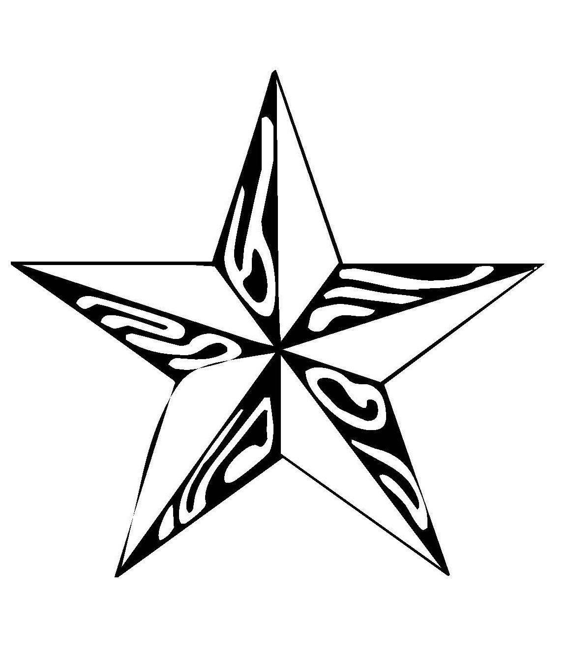 Kostenlose Malvorlage Schneeflocken und Sterne Stern 6