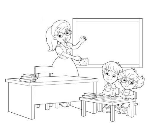 Kostenlose Malvorlage Schule: Grundschüler im