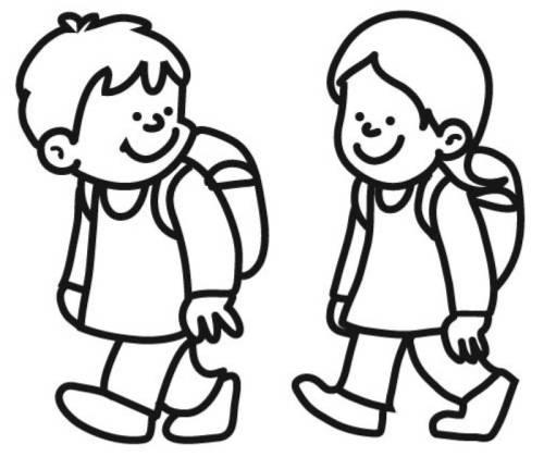 Kostenlose Malvorlage Schule Kinder auf dem Schulweg zum