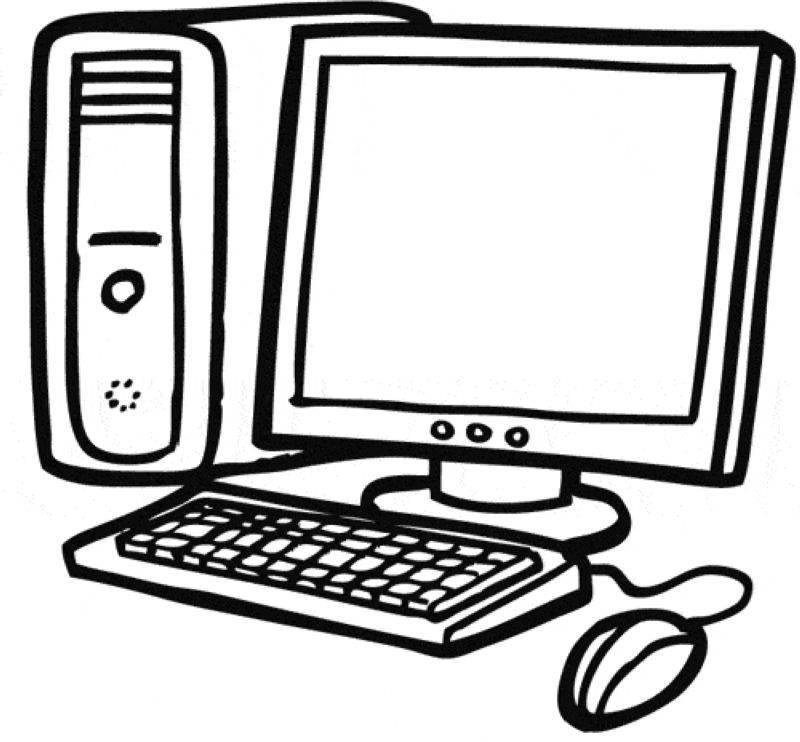 Kostenlose Malvorlage Schule Computer zum Ausmalen