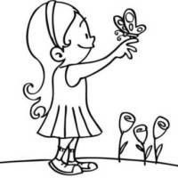 Kostenlose Malvorlage Natur Mädchen mit Schmetterling zum ...