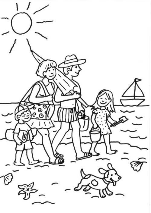 √ kostenlose malvorlage sommer familie am strand ausmalen