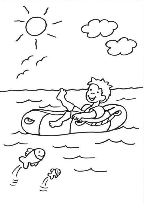 Kostenlose Malvorlage Sommer Junge im Schlauchboot