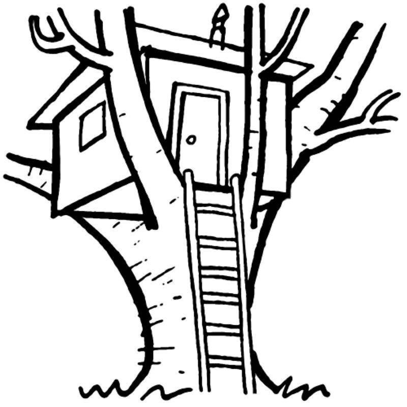 Kostenlose Malvorlage Menschen und ihr Zuhause Baumhaus