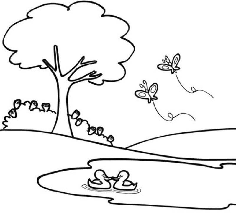Kostenlose Malvorlage Bäume Frühling im Park zum Ausmalen