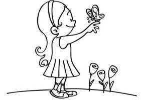 Ausmalbild Natur Mädchen mit Schmetterling kostenlos ...