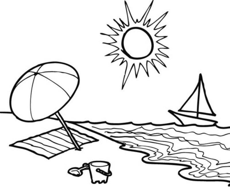 Kostenlose Malvorlage Sommer Sommertag am Strand zum Ausmalen
