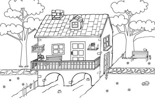 Kostenlose Malvorlage Menschen und ihr Zuhause Haus am Bach zum Ausmalen zum Ausmalen