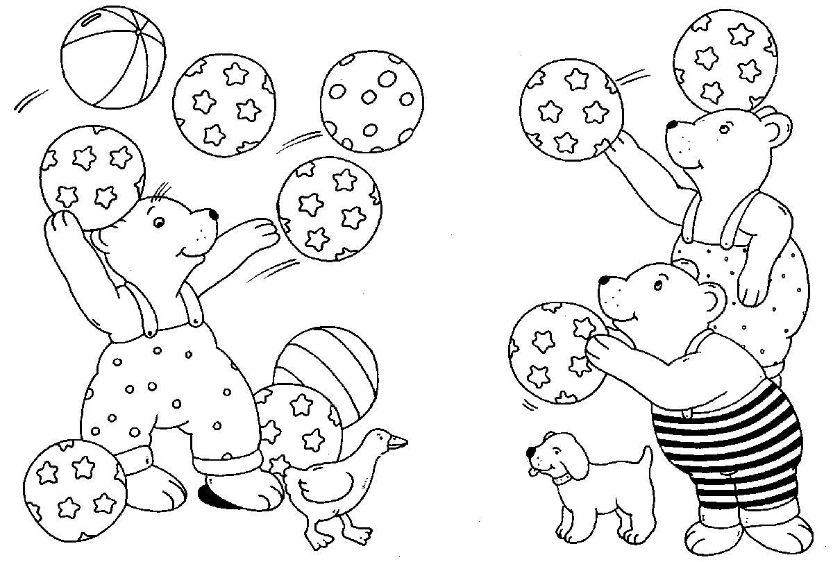 Ausmalbild Rund ums Spielen Bären beim Ballspielen