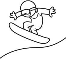 Kostenlose Malvorlage Sport Snowboarder zum Ausmalen