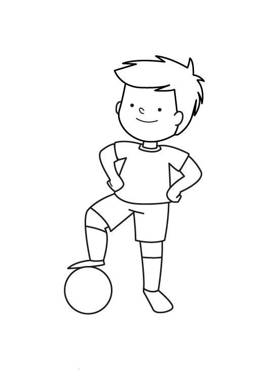 Kostenlose Malvorlage Sport Kleiner Fußballspieler zum