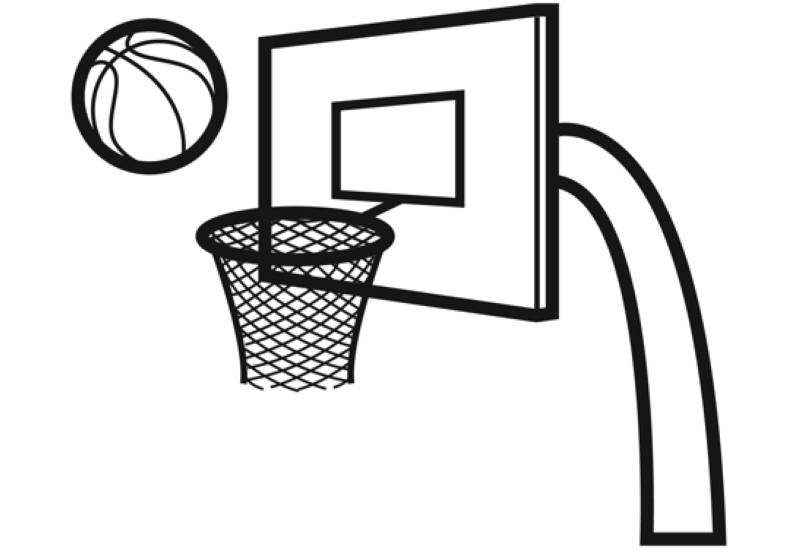 Ausmalbild Sport Basketballkorb kostenlos ausdrucken