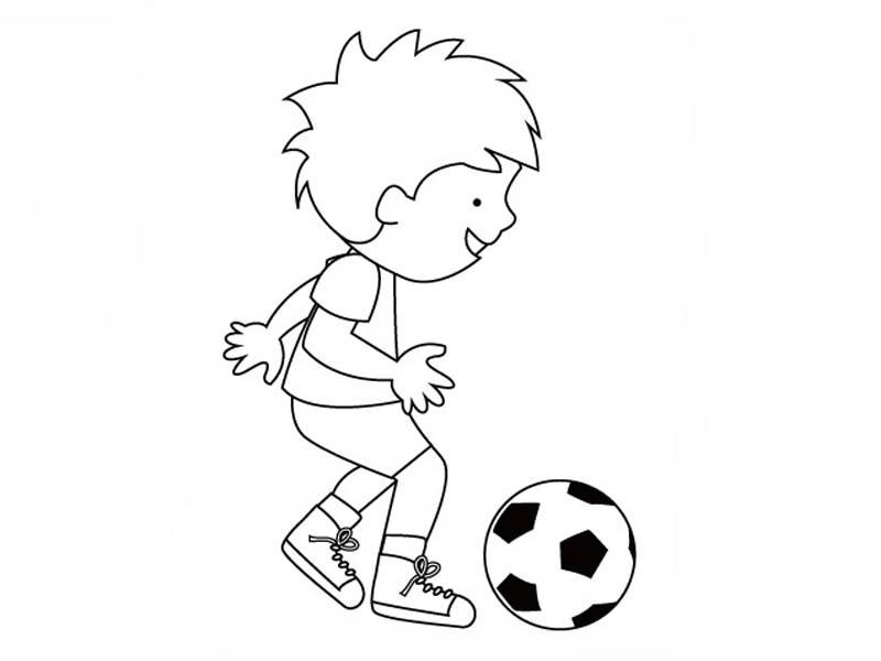 Kostenlose Malvorlage Sport Junger Fußballer zum Ausmalen