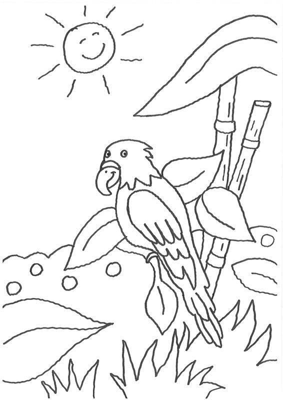 Kostenlose Malvorlage Vögel Papagei und die lachende