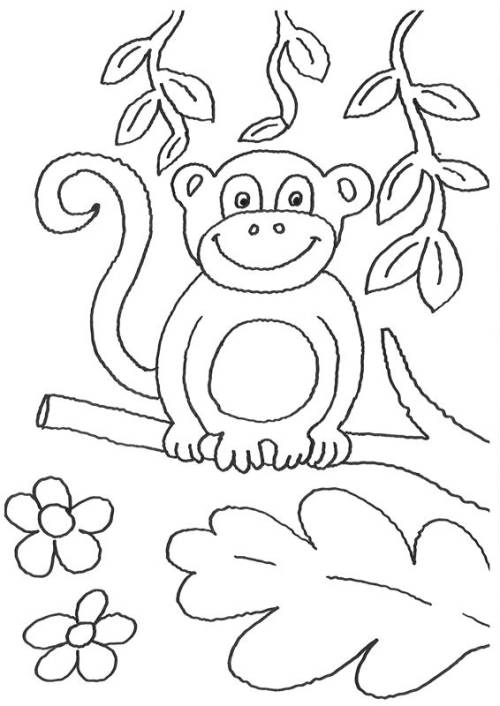 Kostenlose Malvorlage Tiere Affe auf dem Ast zum Ausmalen