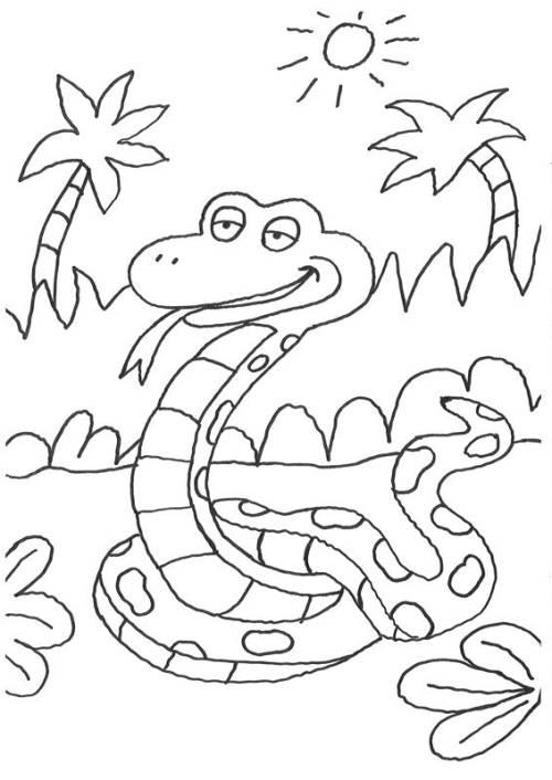 Kostenlose Malvorlage Tiere Schlange im Dschungel zum