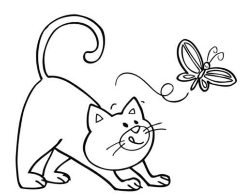 Kostenlose Malvorlage Tiere Katze und Schmetterling zum