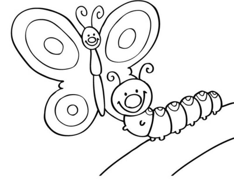 Kostenlose Malvorlage Tiere Schmetterling und Raupe zum