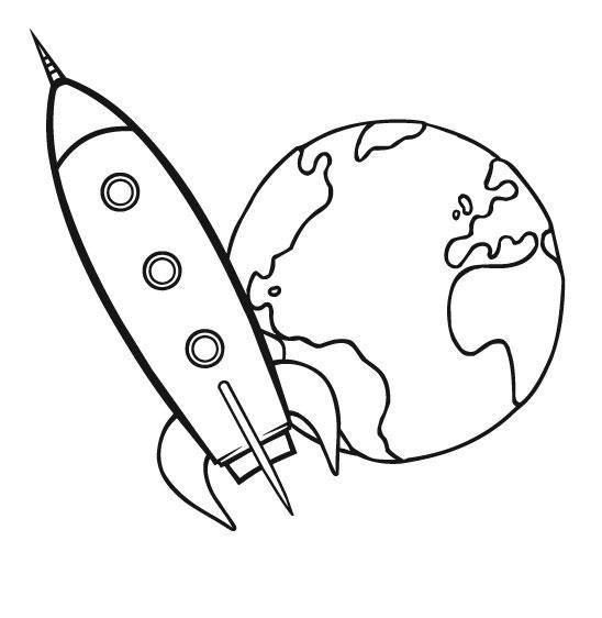 Kostenlose Malvorlage Transportmittel Rakete zum Ausmalen