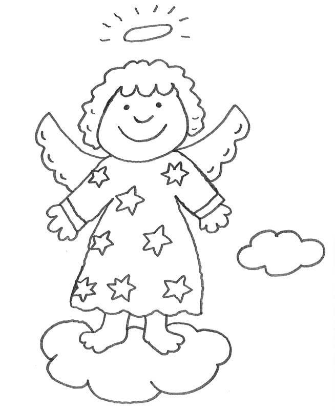 Kostenlose Malvorlage Weihnachten Engel auf einer Wolke