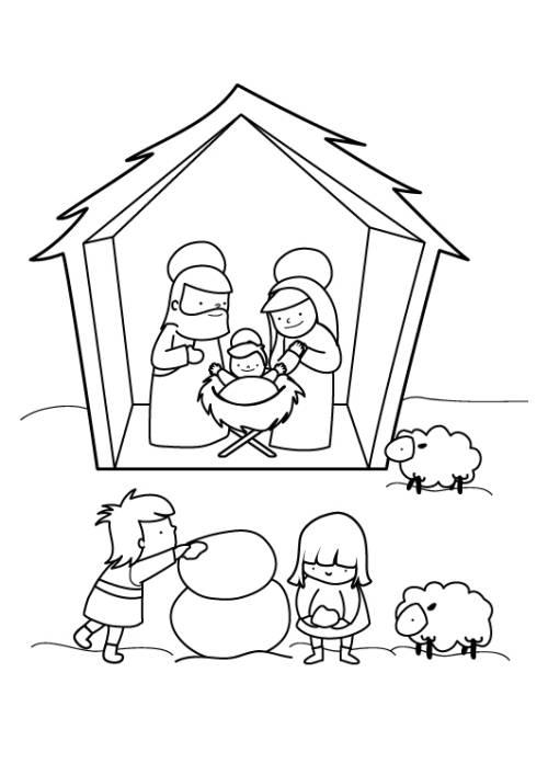 Kostenlose Malvorlage Weihnachten Krippe im Schnee zum