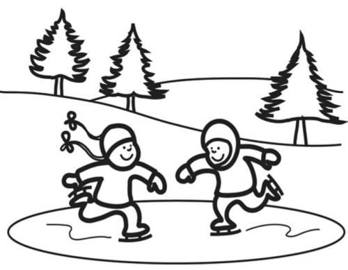Kostenlose Malvorlage Winter Kinder beim Eislaufen zum