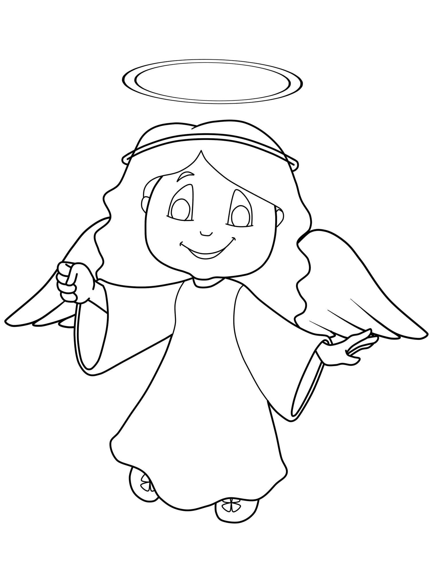 Kostenlose Malvorlage Weihnachtsengel Engel mit