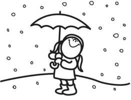 Ausmalbild Winter Mädchen im Schnee kostenlos ausdrucken