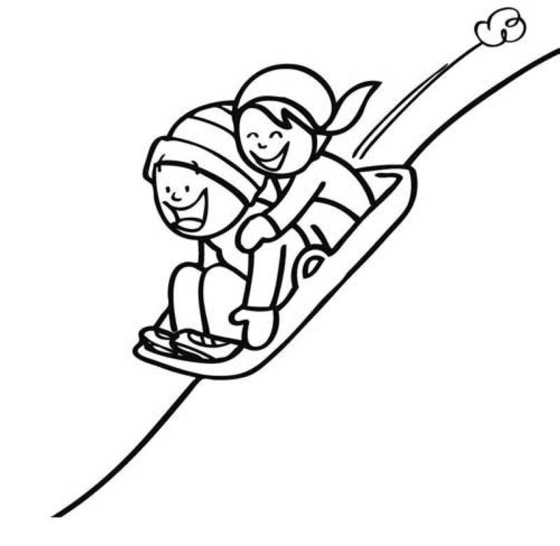 Kostenlose Malvorlage Winter Kinder beim Schlittenfahren