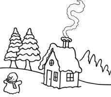 Ausmalbild Winter Winterlandschaft kostenlos ausdrucken
