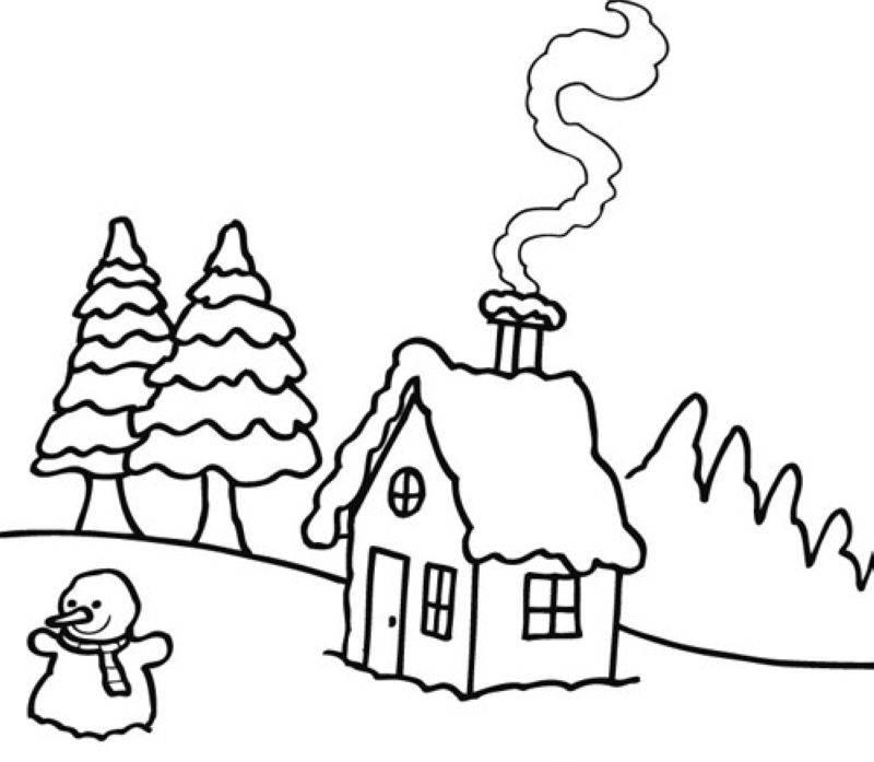 Kostenlose Malvorlage Winter Winterlandschaft zum Ausmalen