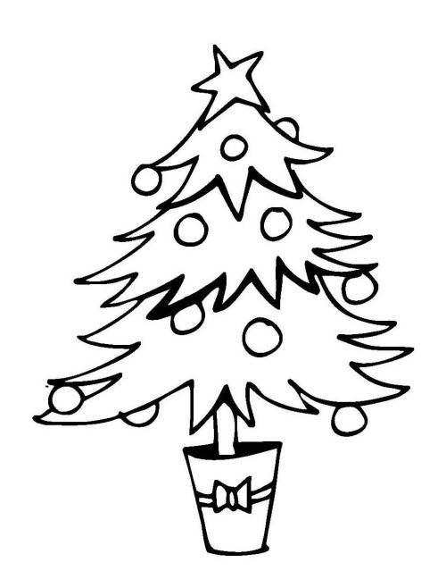 Kostenlose Malvorlage Weihnachten Weihnachtsbaum im Topf