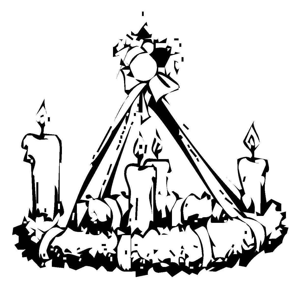 Ausmalbild Weihnachten Adventskranz kostenlos ausdrucken