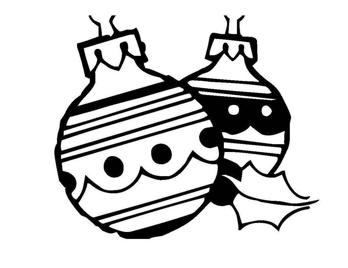 Kostenlose Malvorlage Weihnachten Zwei Christbaumkugeln