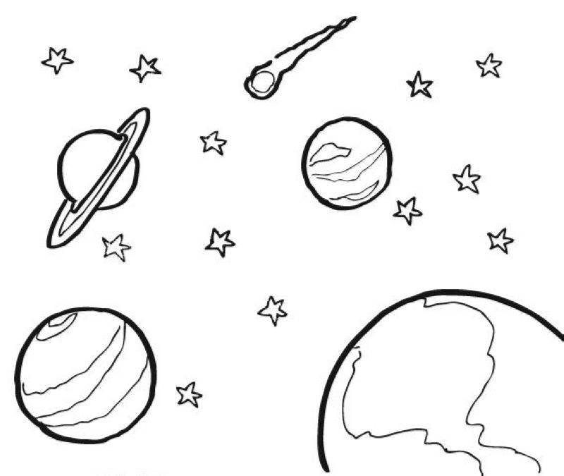 Ausmalbild Außerirdische und das Weltall Weltall