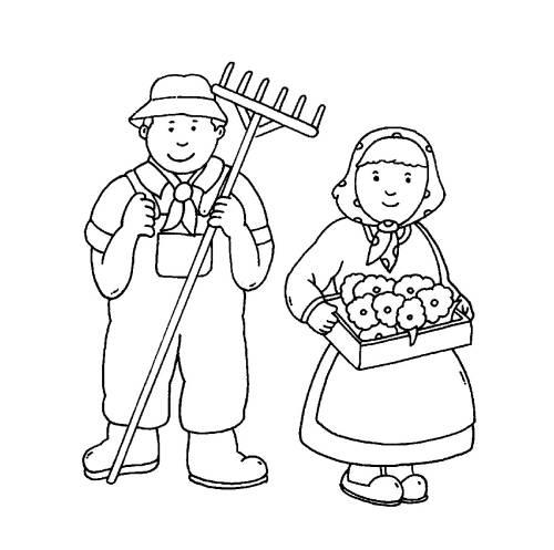 Kostenlose Malvorlage Bauernhof: Bauersleute zum Ausmalen