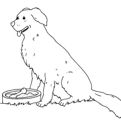 Kostenlose Malvorlage Bauernhof: Hofhund zum Ausmalen