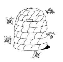 Ausmalbild Bauernhof Bienenstock kostenlos ausdrucken