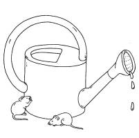 Ausmalbild Bauernhof Gießkanne und Mäuse kostenlos ausdrucken