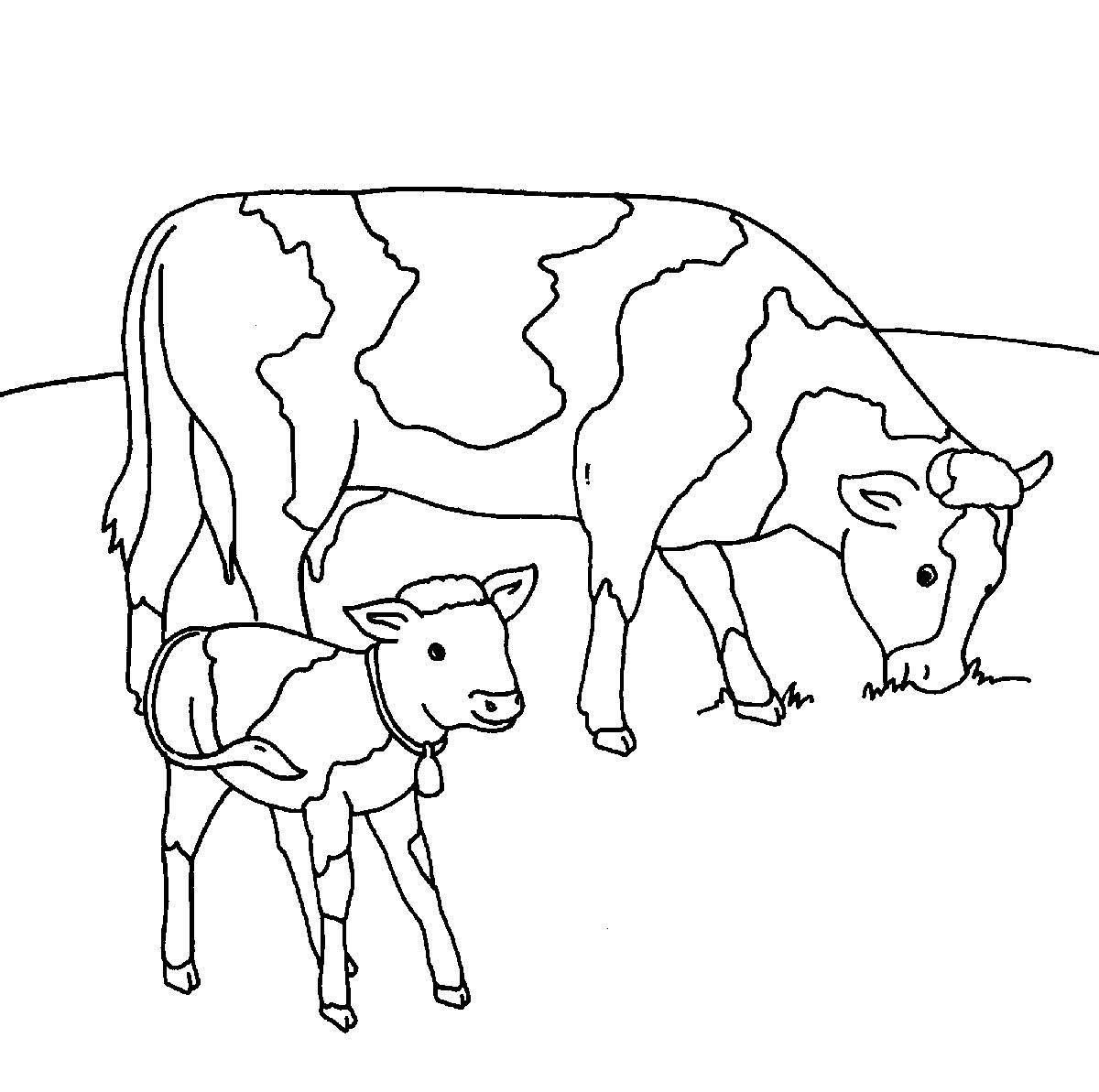 Kostenlose Malvorlage Bauernhof Kühe auf der Weide zum